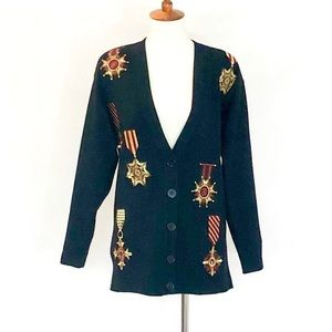 Jones New York Embroidered Medals Cardigan